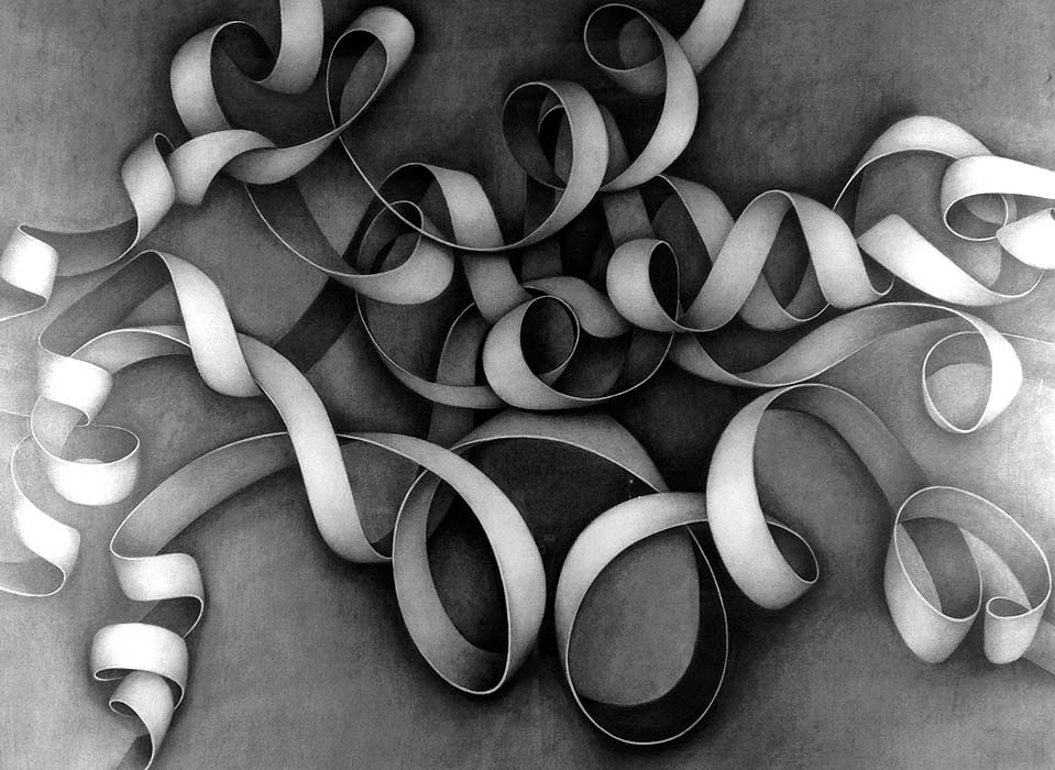 "COIL #35 CARBON ON PAPER 30'x40"" 2004"